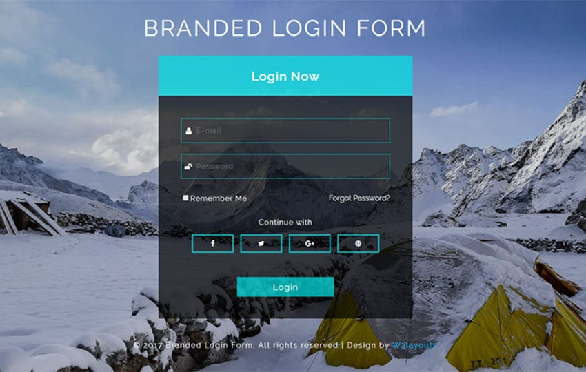 Branded Login Form Responsive Widget Template Mobile website template Free