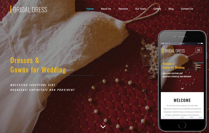 Bridal Dress a Fashion Category Bootstrap Responsive Web Template Mobile website template Free