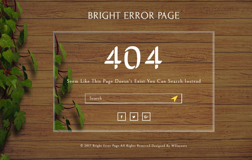 Bright Error Page a Flat Responsive Widget Template Mobile website template Free