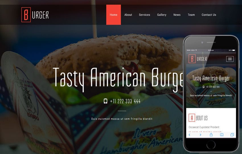 Burger a Restaurant Category Bootstrap Responsive Web Template Mobile website template Free