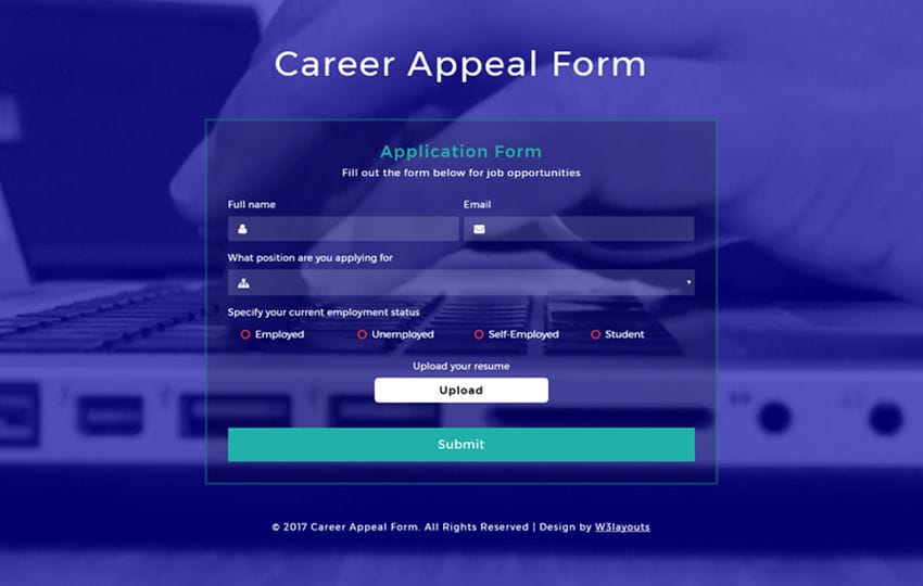 Career Appeal Form Responsive Widget Template Mobile website template Free
