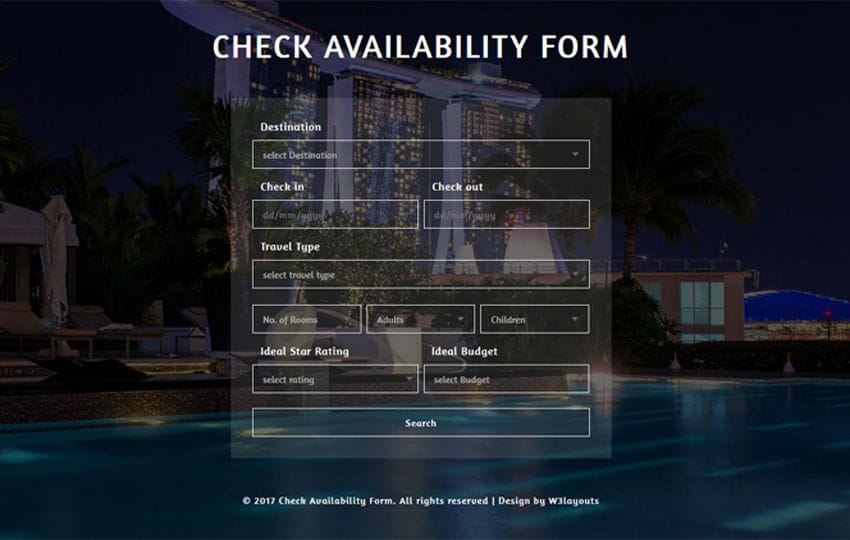 Check Availability Form A Flat Responsive Widget Template