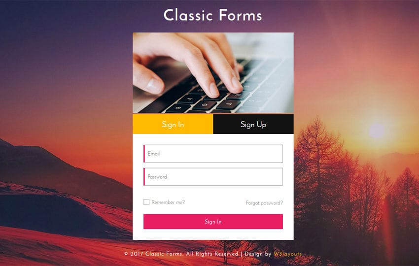 Classic Forms Responsive Widget Template Mobile website template Free