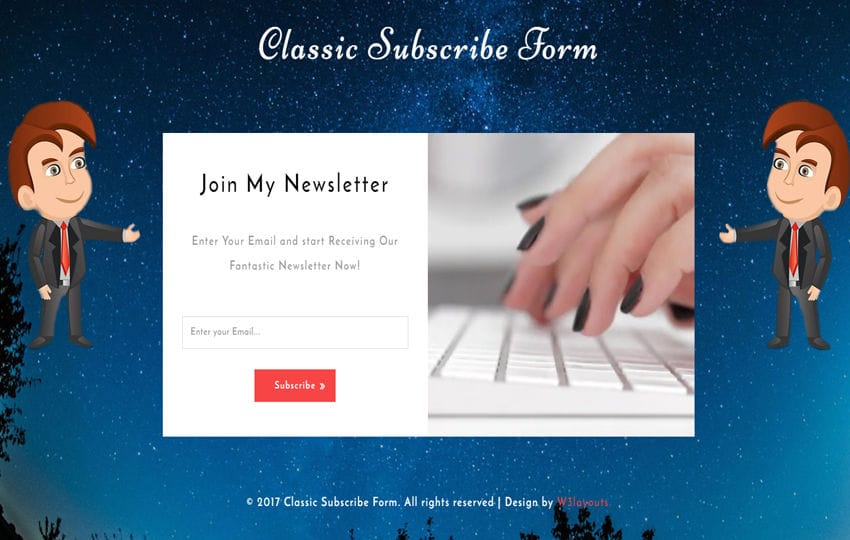 Classic Subscribe Form Responsive Widget Template Mobile website template Free