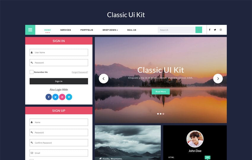 Classic UI Kit a Flat Bootstrap Responsive Web Template Mobile website template Free