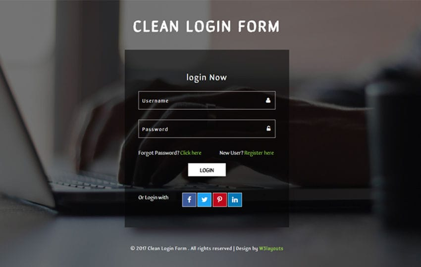 Clean Login Form a Flat Responsive Widget Template Mobile website template Free