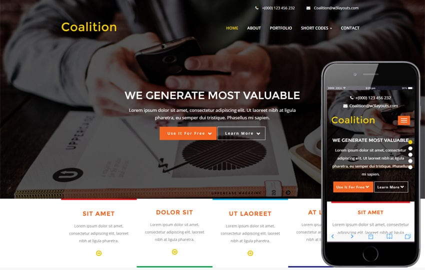 Coalition a Corporate Business Flat Bootstrap Responsive Web Template Mobile website template Free
