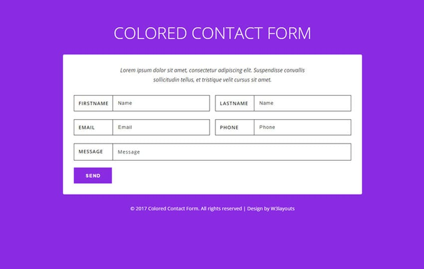 Colored Contact Form Flat Responsive Widget Template