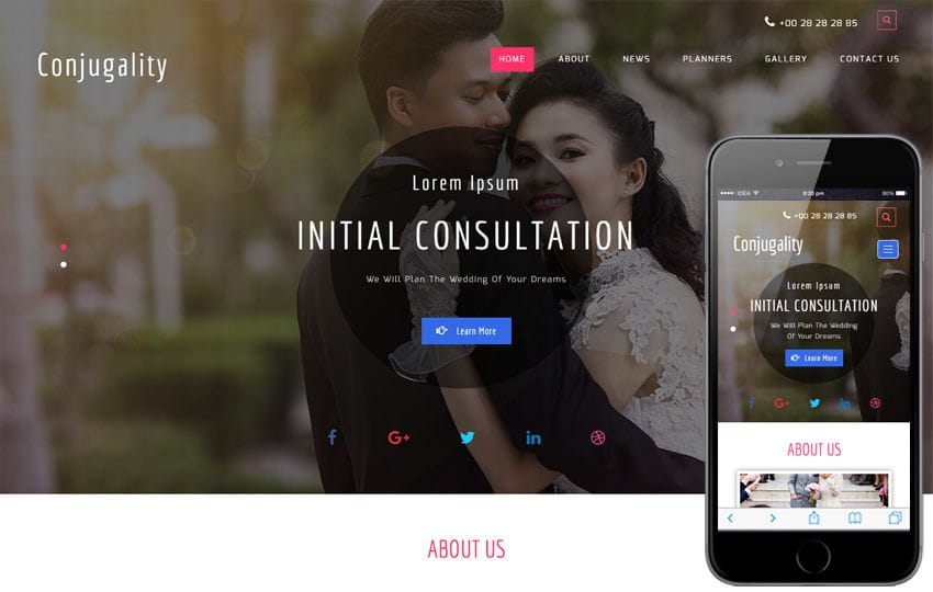 Conjugality a Wedding Category Bootstrap Responsive Web Template Mobile website template Free