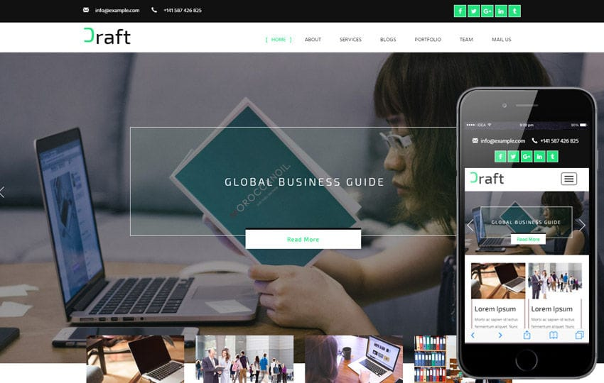 Craft a Corporate Category Flat Bootstrap Responsive Web Template Mobile website template Free