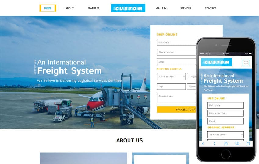 Custom a Transportation Category Bootstrap Responsive Web Template Mobile website template Free