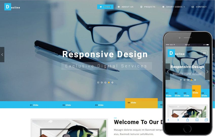 Decline a Corporate Category Bootstrap Responsive Web Template Mobile website template Free