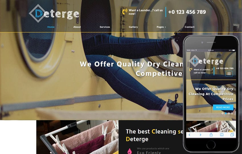 Deterge Laundry a Flat Bootstrap Responsive Web Template Mobile website template Free