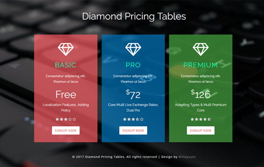 Diamond Pricing Tables a Flat Responsive Widget Template Mobile website template Free
