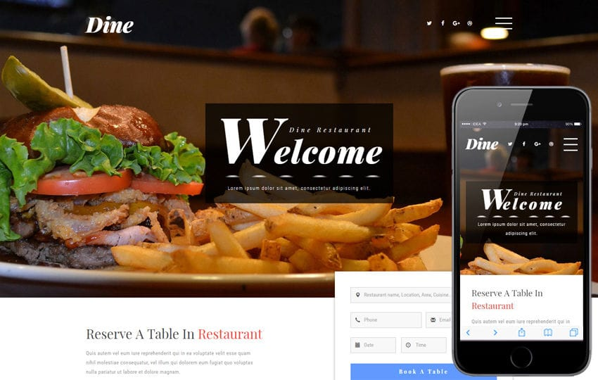 Dine a Restaurants Category Bootstrap Responsive Web Template Mobile website template Free