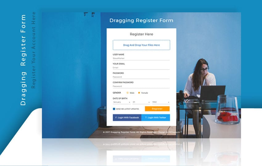 Dragging Register Form a Flat Responsive Widget Template Mobile website template Free