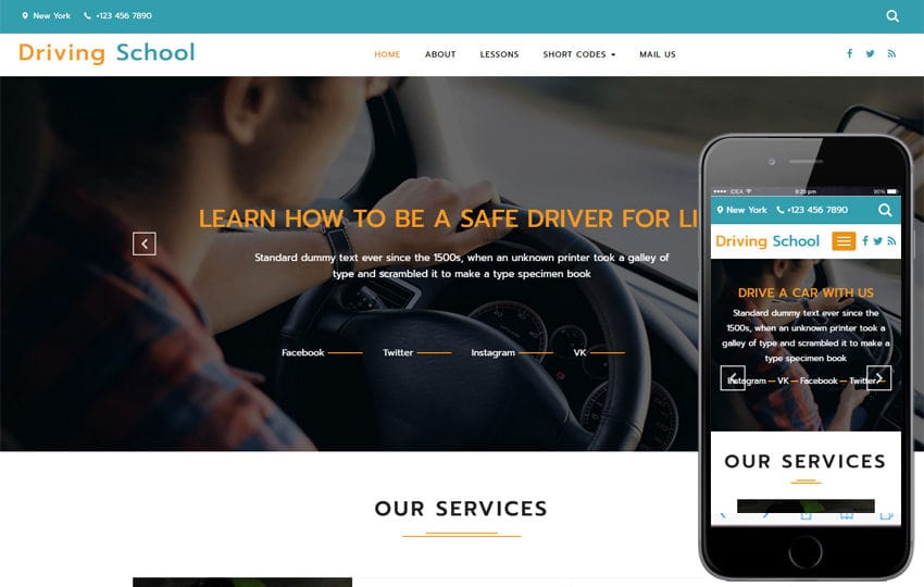 Driving School a Business Category Bootstrap Responsive Web Template Mobile website template Free