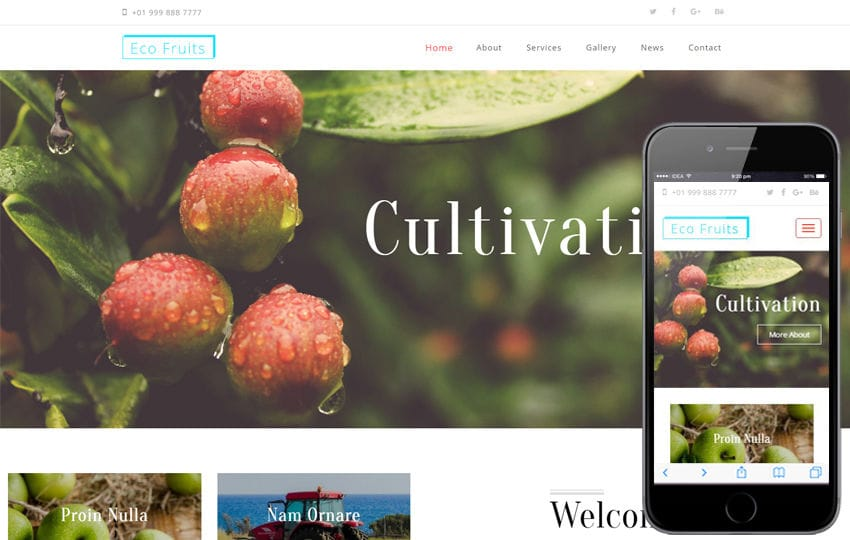 Eco Fruits an Agriculture Category Bootstrap Responsive Web Template Mobile website template Free