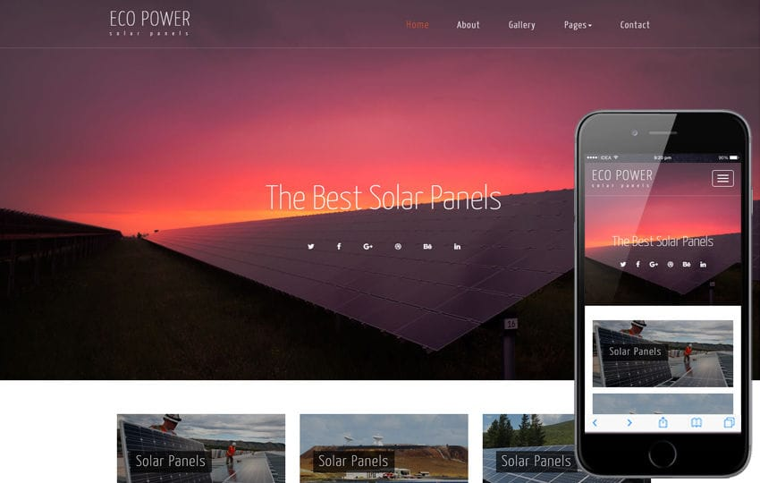 Eco Power an Industrial Category Bootstrap Responsive Web Template Mobile website template Free