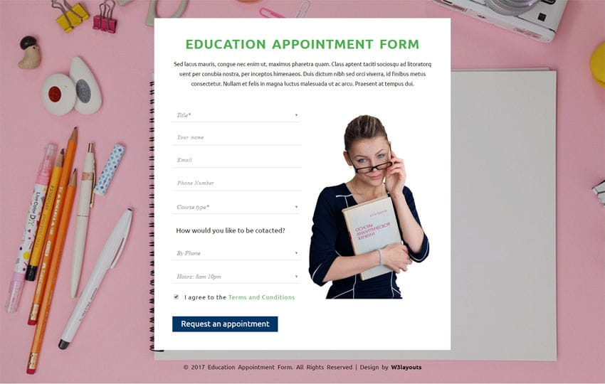 Education Appointment Form a Flat Responsive Widget Template Mobile website template Free