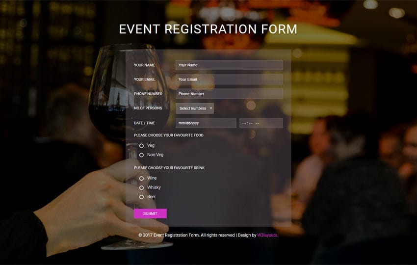 Event Registration Form A Flat Responsive Widget Template
