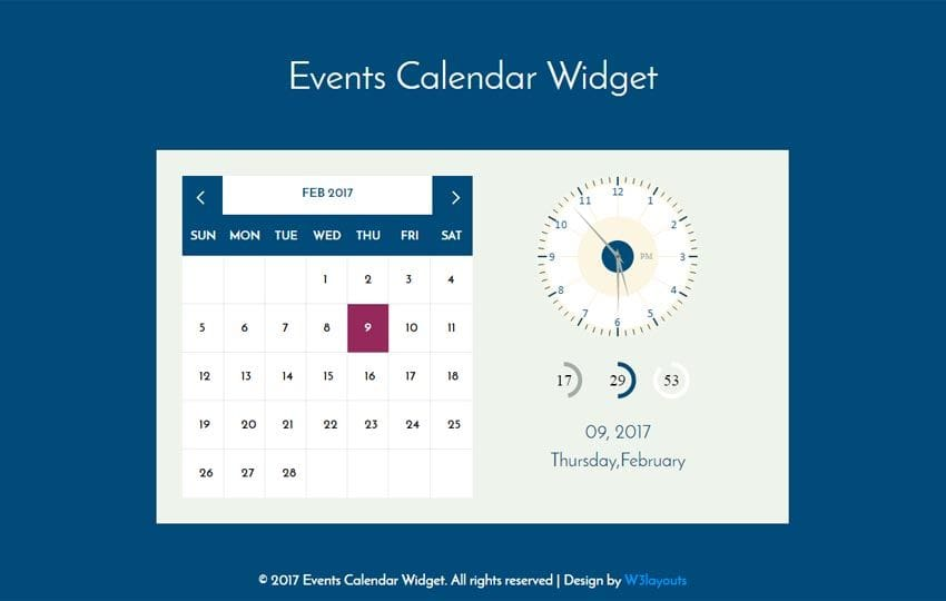 Events Calendar Widget Flat Responsive Widget Template Mobile website template Free