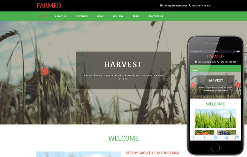 Farmed an Agriculture Category Flat Bootstrap Responsive Web Template Mobile website template Free