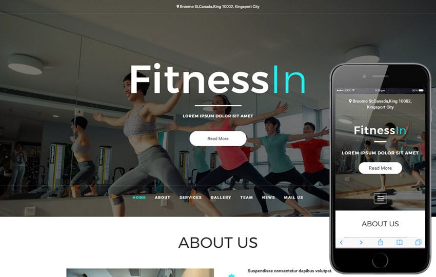 Fitness In a Sports Category Bootstrap Responsive Web Template Mobile website template Free