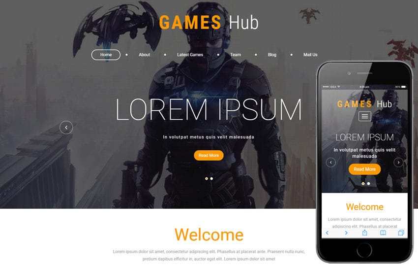 Games Hub a Games Category Bootstrap Responsive Web Template Mobile website template Free