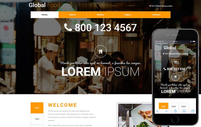 Global Food a Restaurants Category Bootstrap Responsive Web Template Mobile website template Free