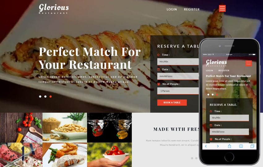 Glorious a Restaurants Category Bootstrap Responsive Web Template Mobile website template Free