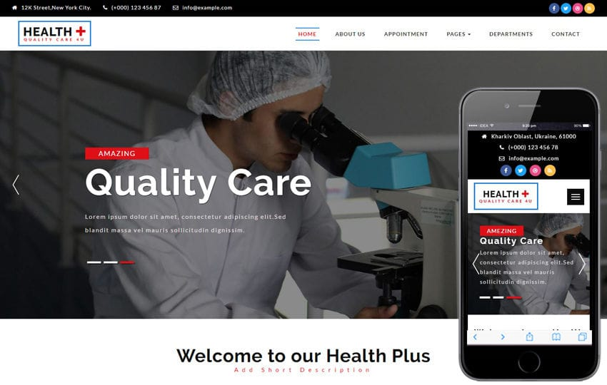 Health plus a Medical Category Bootstrap Responsive Web Template Mobile website template Free