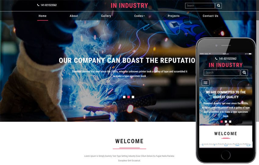 In Industry an Industrial Category Bootstrap Responsive Web Template Mobile website template Free