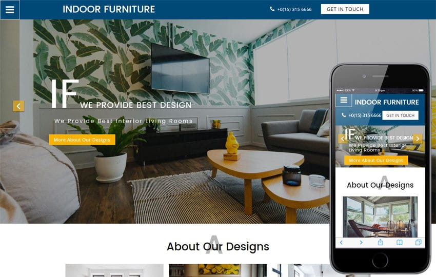 Interior Furniture designs Mobile Website Templates