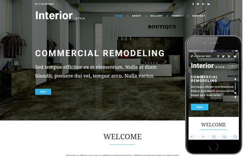 Interior Style an Interior Category Bootstrap Responsive Web Template Mobile website template Free