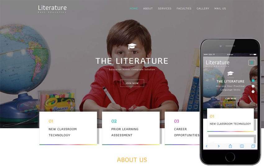 Literature an Education Category Bootstrap Responsive Web Template Mobile website template Free