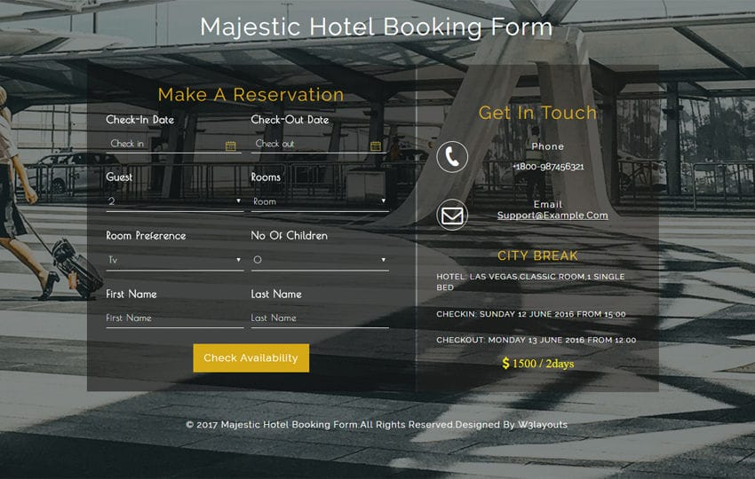 Majestic Hotel Booking Form a Flat Responsive Widget Template Mobile website template Free