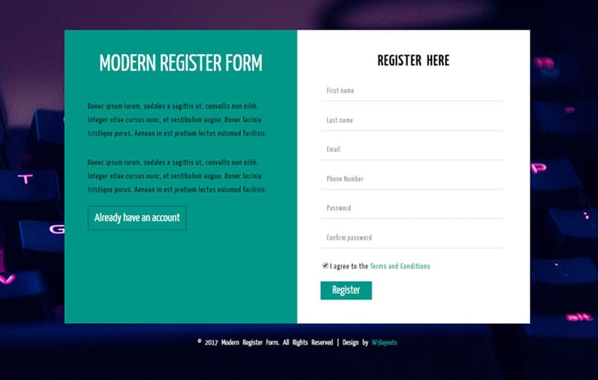modern register form a flat responsive widget template