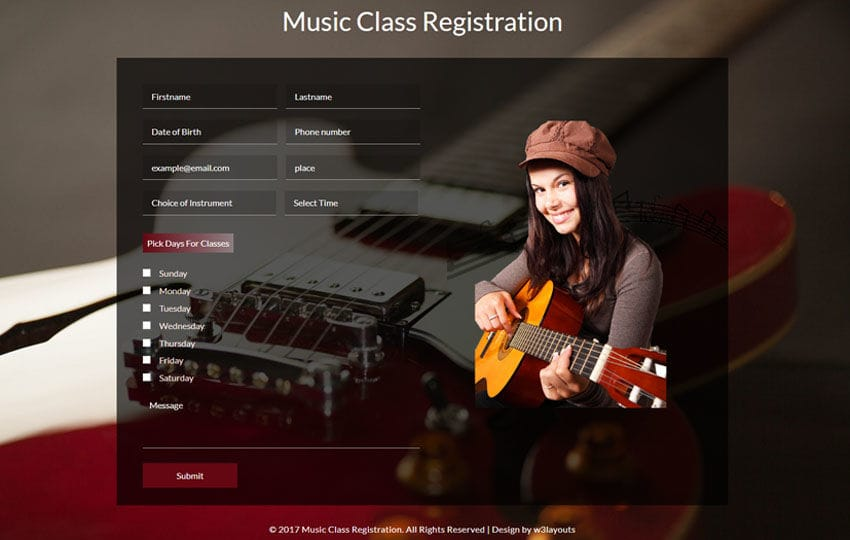 Music Class Registration a Flat Responsive Widget Template Mobile website template Free