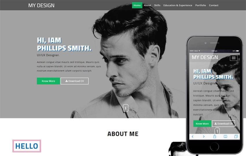My Design a Personal Category Bootstrap Responsive Web Template Mobile website template Free