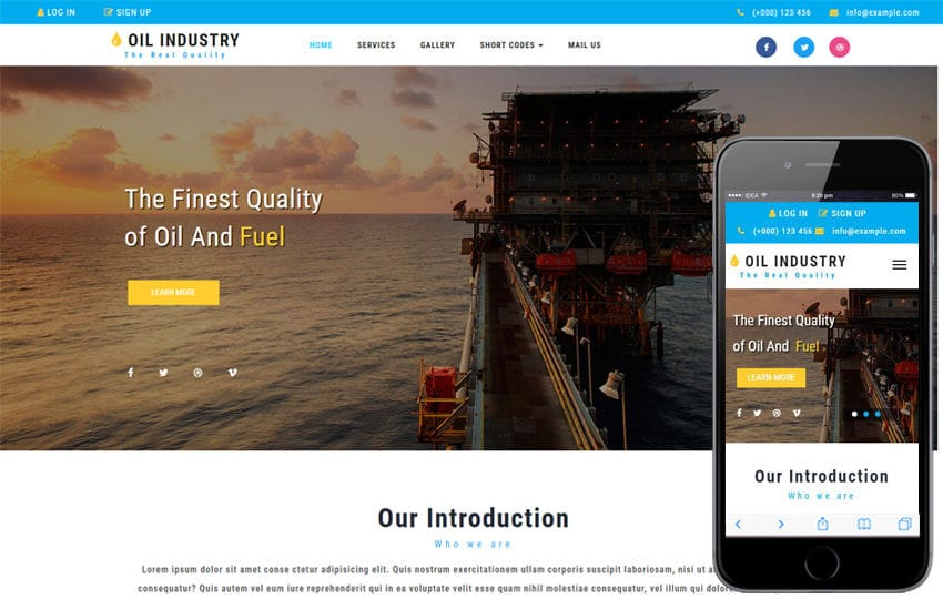 Oil Industry an Industrial Category Bootstrap Responsive Web Template Mobile website template Free