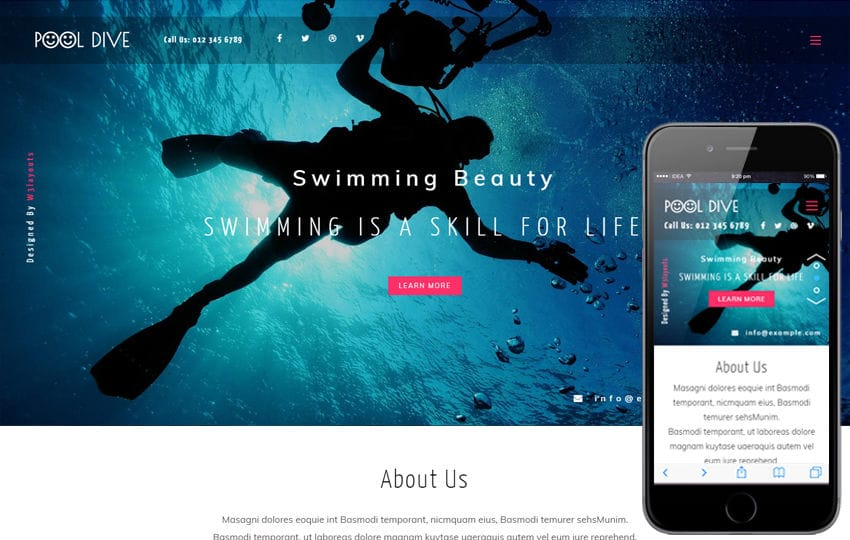 Pool Dive a Sports Category Flat Bootstrap Responsive Web Template Mobile website template Free