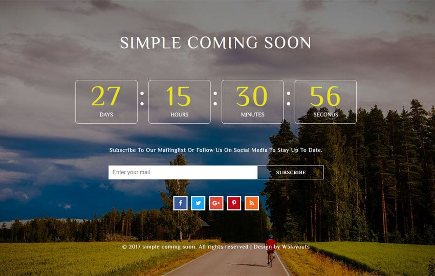 Simple Coming Soon a Flat Responsive Widget Template Mobile website template Free