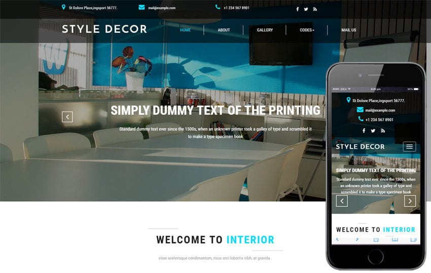 Style Decor an Interior Category Bootstrap Responsive Web Template Mobile website template Free
