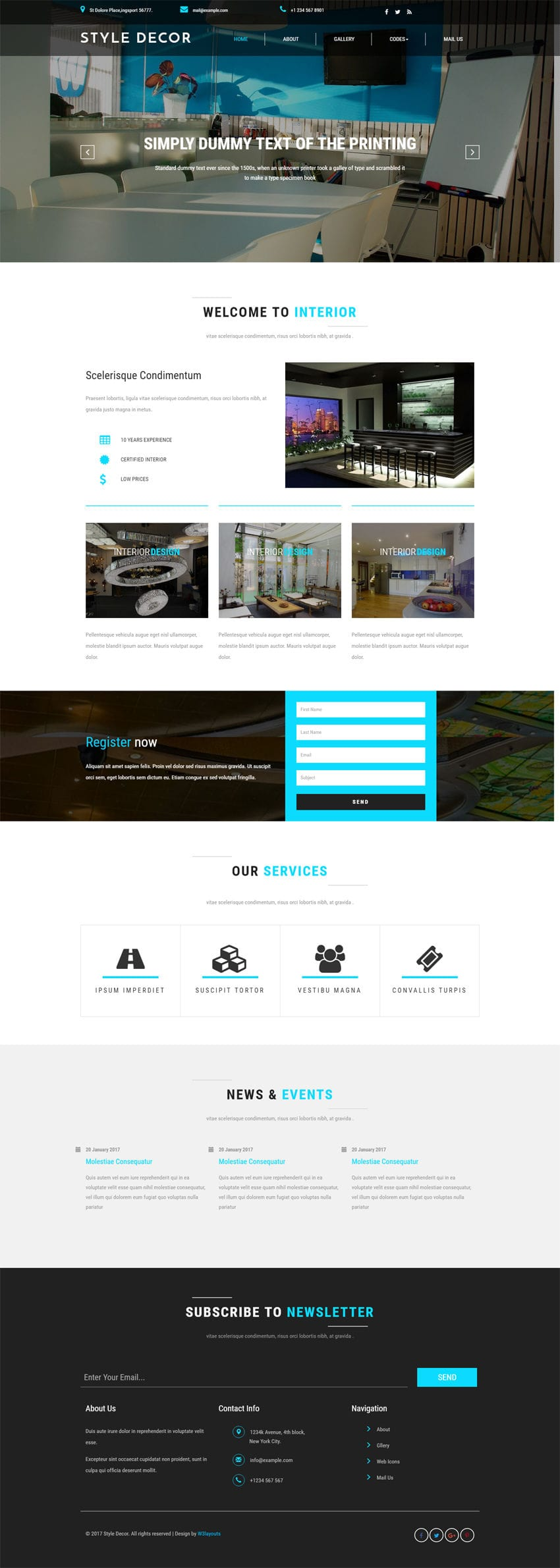 Style decor an interior category bootstrap responsive web for Interior design responsive website templates edge free download