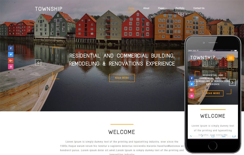 Township a Real Estate Category Bootstrap Responsive Web Template Mobile website template Free
