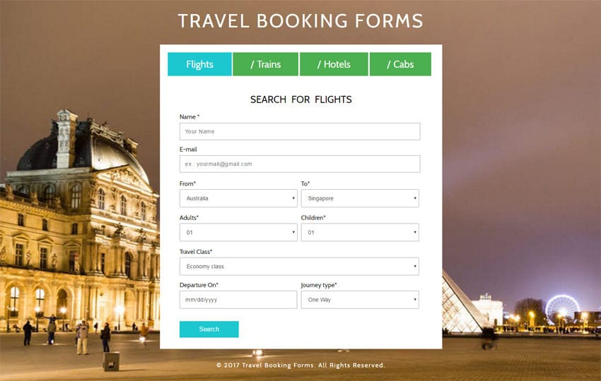 Travel booking forms a flat responsive widget template pronofoot35fo Choice Image