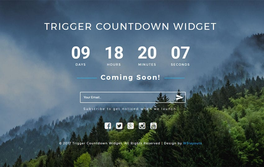 Trigger Countdown a Flat Responsive Widget Template Mobile website template Free