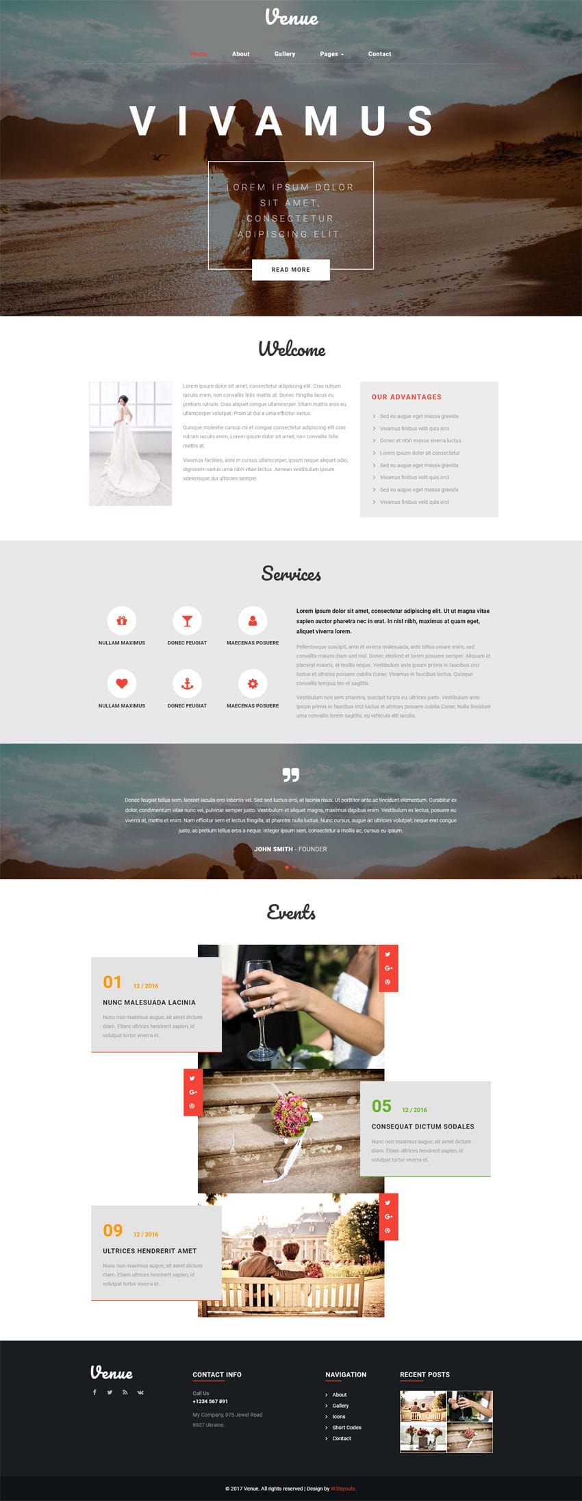 Venue A Wedding Category Bootstrap Responsive Web Template