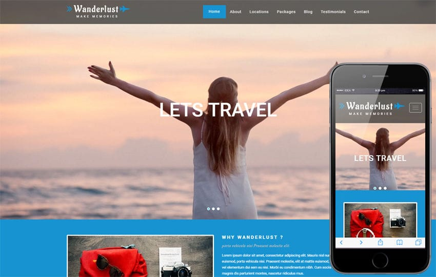 Wanderlust a Travel Category Bootstrap Responsive Web Template Mobile website template Free
